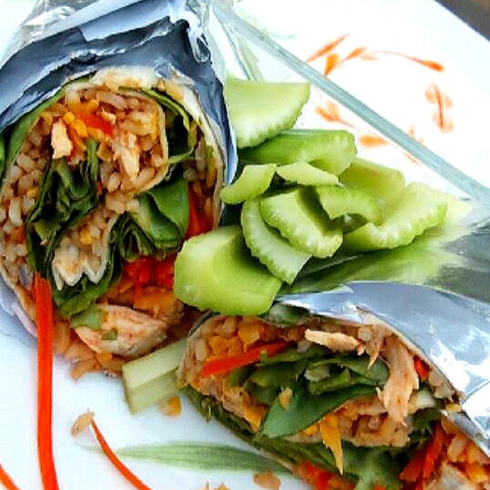 Buffalo or Barbeque Chicken and Rice Wraps Jaana Smith Bauman