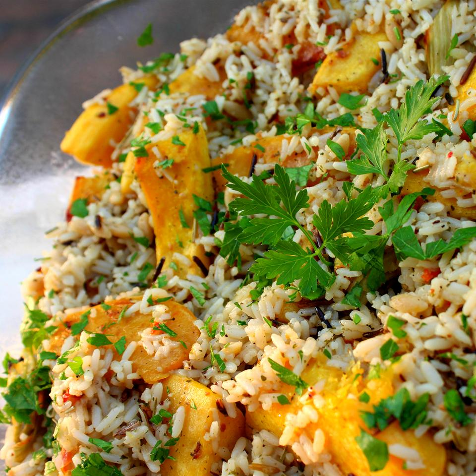 Balsamic Roasted Fennel and Acorn Squash Rice Casserole Jaana Smith Bauman