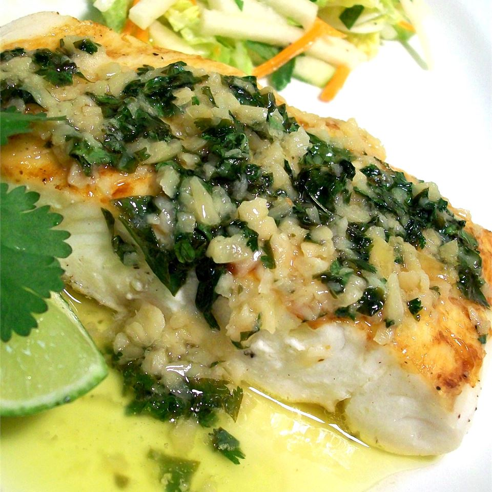 Grilled Halibut with Cilantro Garlic Butter SunnyByrd
