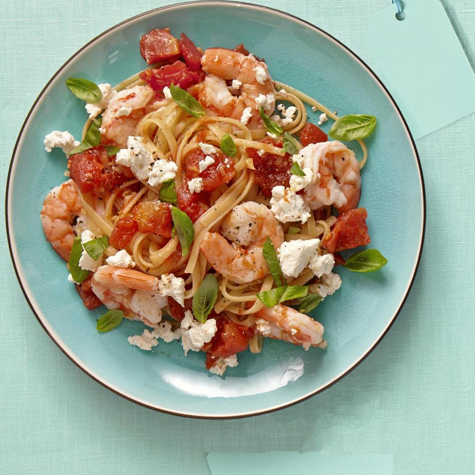 Fire Roasted Tomato and Feta Pasta with Shrimp Allrecipes Magazine