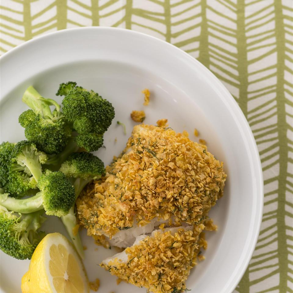 "Rely on kitchen staples — cornflakes and light mayonnaise — to create crispy coated halibut that is a real crowd pleaser. Some recipe reviewers swap other white fish for halibut such as haddock, mahi mahi, or orange roughy, and use dried dill in place of fresh. Recipe reviewer Buckwheat Queen used chicken in place of fish and reported, ""Thumbs up from everyone here."""