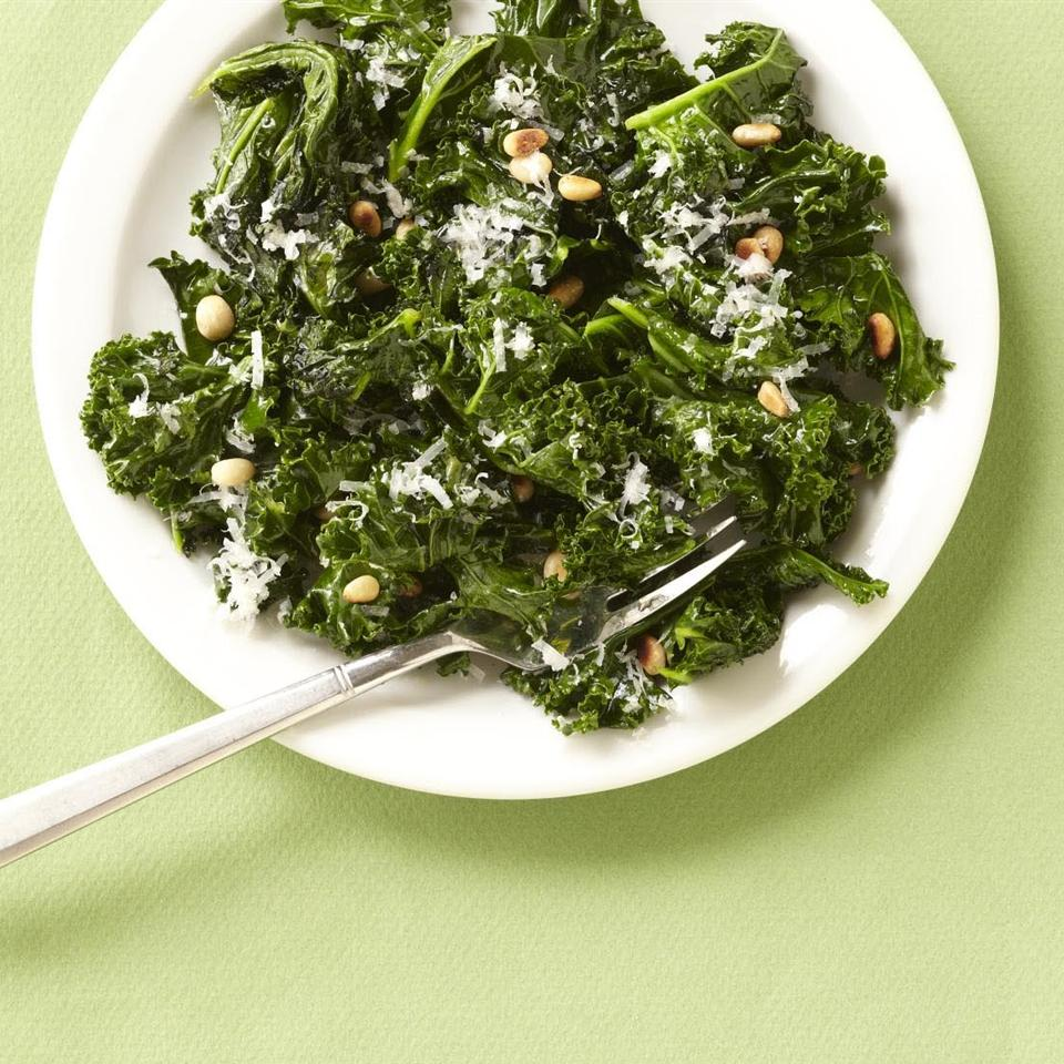 Kale with Pine Nuts and Shredded Parmesan