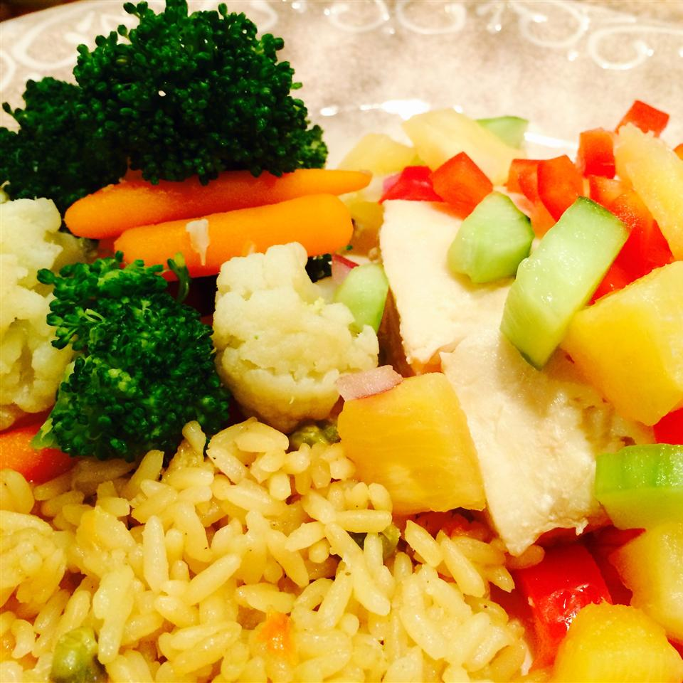 Poached Halibut with Chunky Pineapple Salsa Katrina Katula
