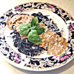 Black Pasta in a Pink Gorgonzola Sauce