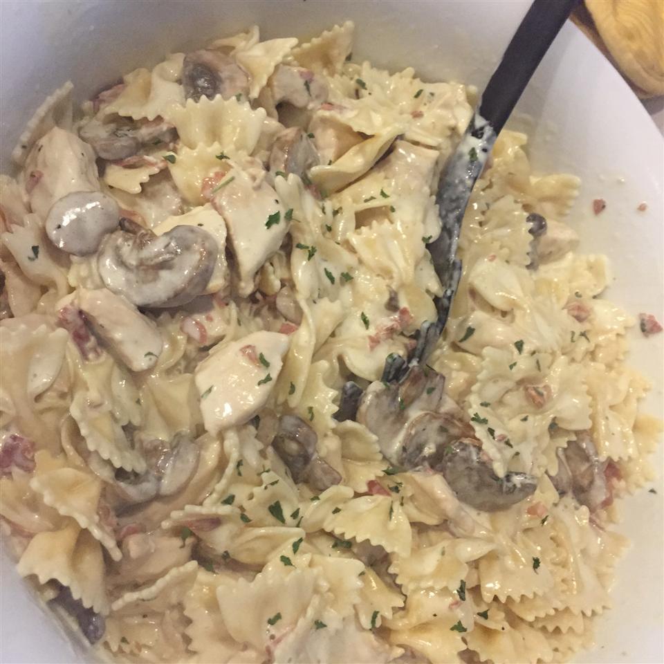 Chicken and Bowtie Pasta with Asiago Cream Sauce