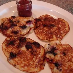Mom's Oatmeal Blueberry Pancakes Lady at the Stove