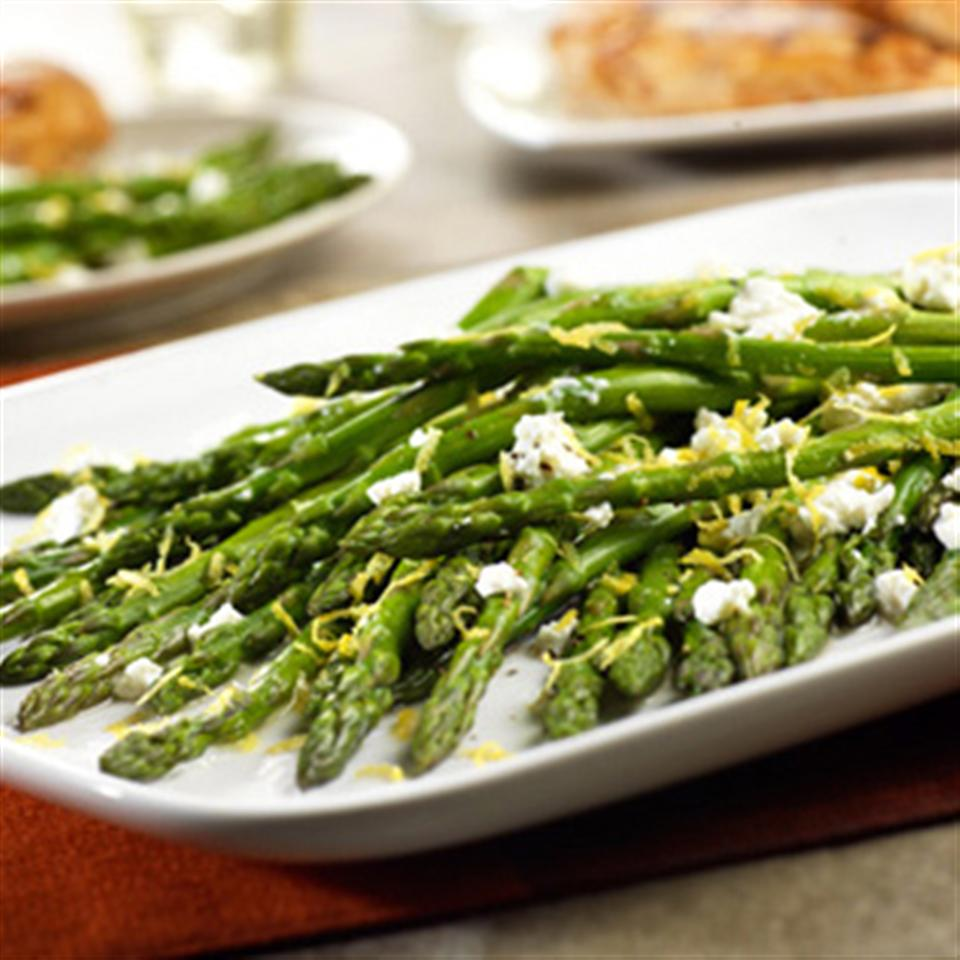 Roasted Asparagus with Lemon and Goat Cheese