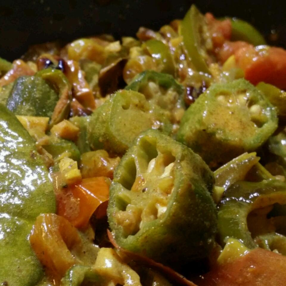 This easy and delicious Indian curry involves cooking okra, peppers, fresh ginger, tomatoes, and raisins in coconut milk. One review commented on how the okra was a nice change from the go-to chickpeas you find in most Indian vegetarian curries.