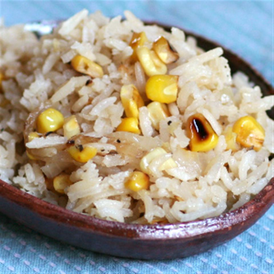 Rice with Pan-Roasted Corn and Onions