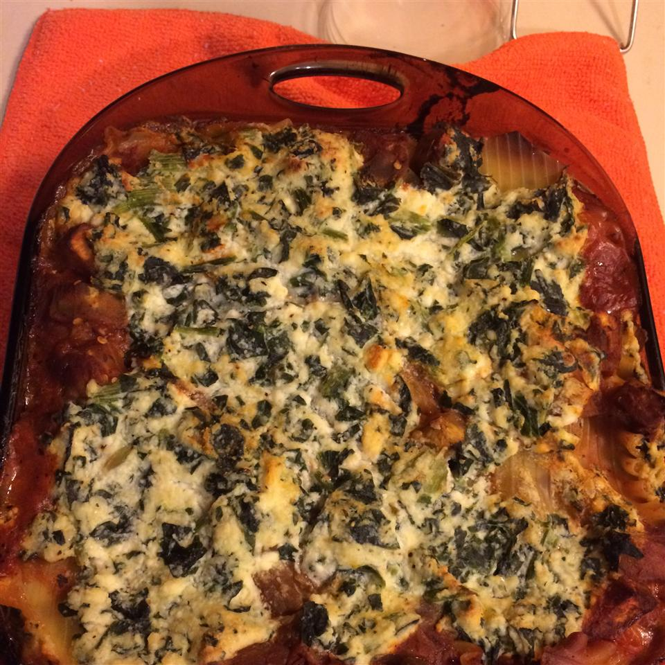 Low Fat Cheesy Spinach and Eggplant Lasagna Drew
