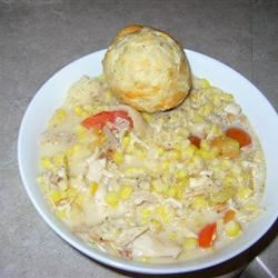 Creamy Chicken with Corn, Tarragon and Tomatoes Allie Yungclas