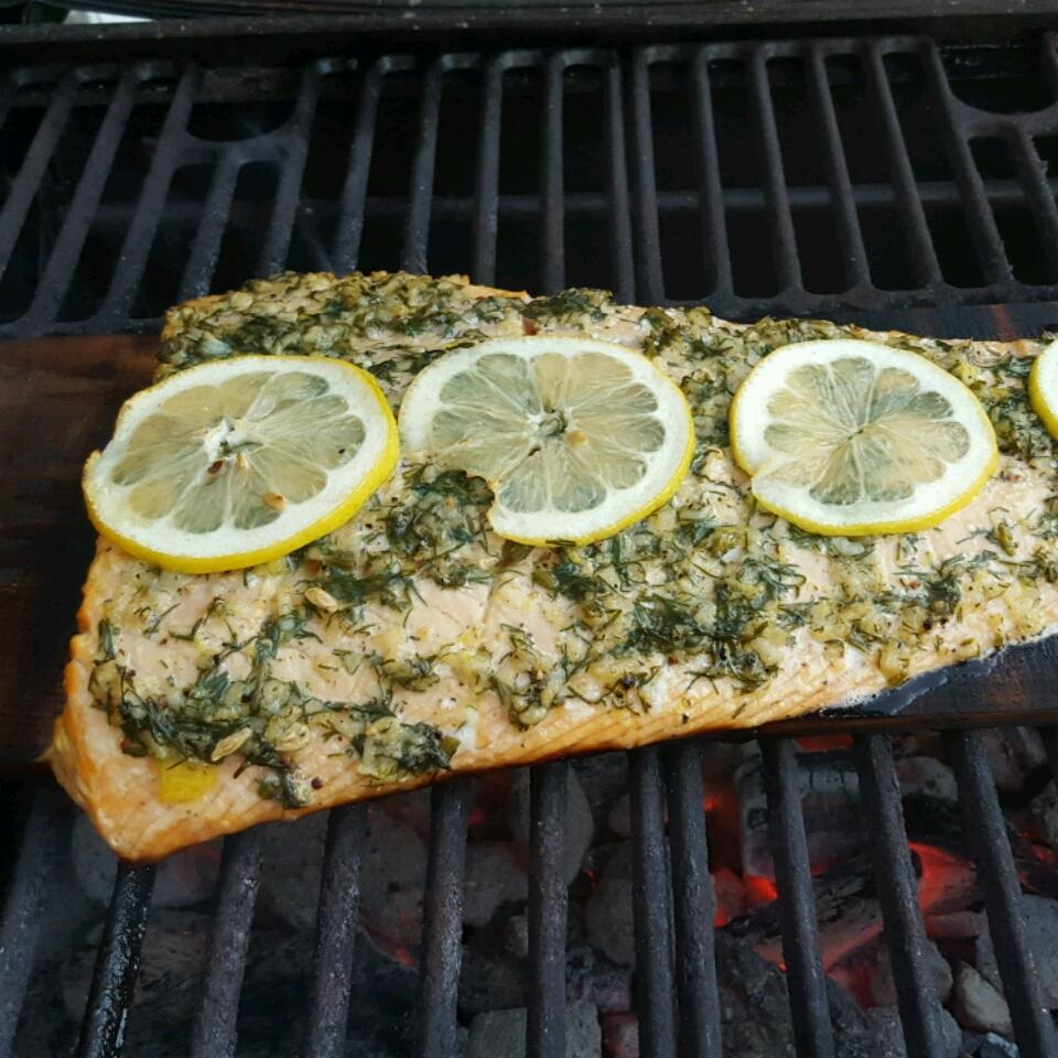 Cedar Plank-Grilled Salmon with Garlic, Lemon and Dill J.B. Gaskins