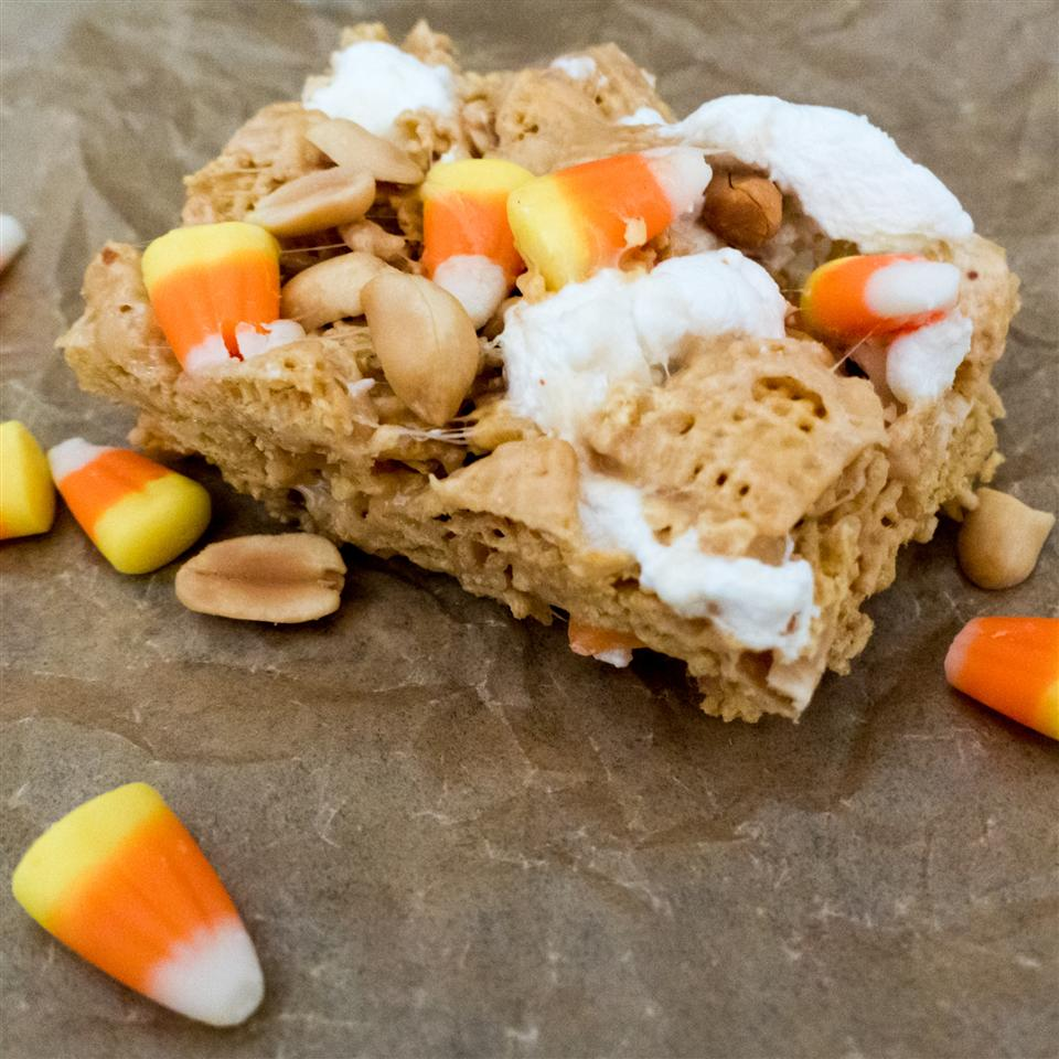Peanutty Candy Corn Cereal Bars magicallydelicious