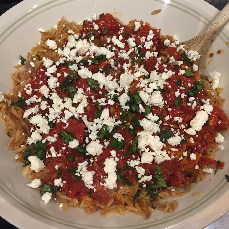 Orzo with Tomatoes, Basil, and Gorgonzola amy jordyn