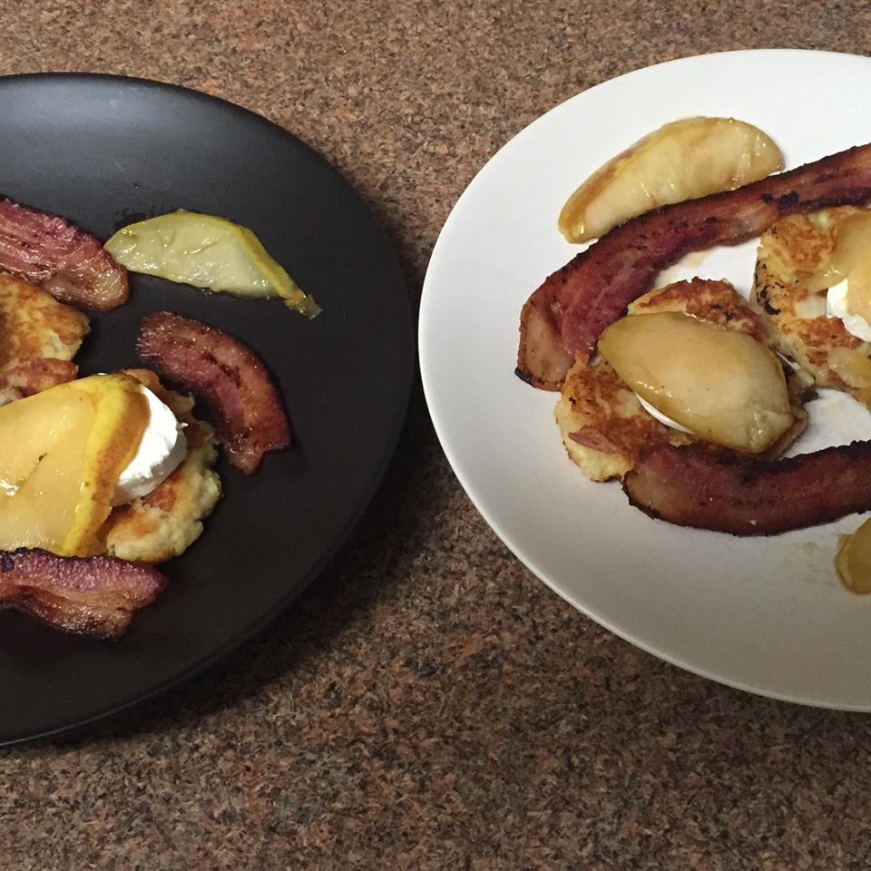 Potato Latkes with Caramelized Pears, Goat Cheese, and Sherry Vinegar Drizzle George Thorman