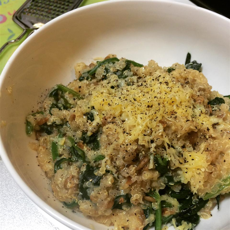 Cheesy Quinoa Pilaf with Spinach Anne Morinaga