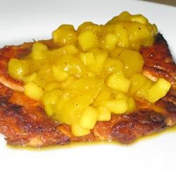 Grilled Salmon with Curried Peach Sauce Fit&Healthy Mom