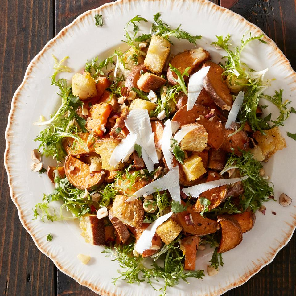 Sweet Potato Salad with Garlic Bread and Frisee