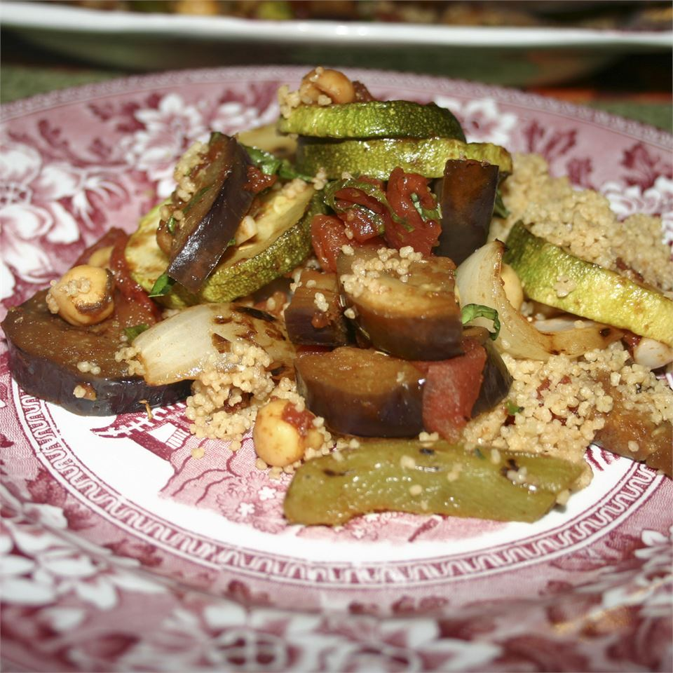 Grilled Vegetables in Balsamic Tomato Sauce with Couscous ChristineM
