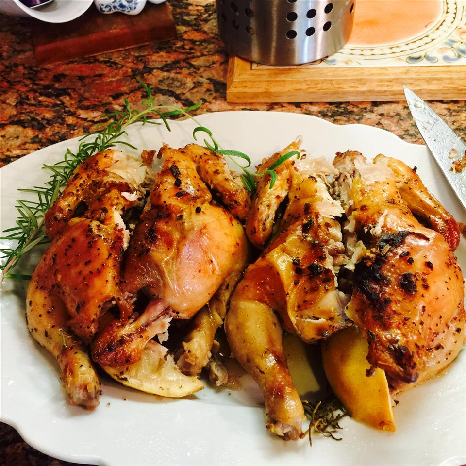Cornish Game Hens with Garlic and Rosemary MOONANDBACK