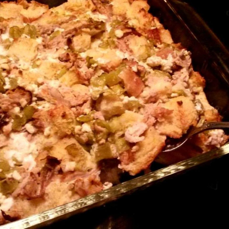 Pork Roast Strata with Green Chiles and Goat Cheese Linda at Bit of Flavor