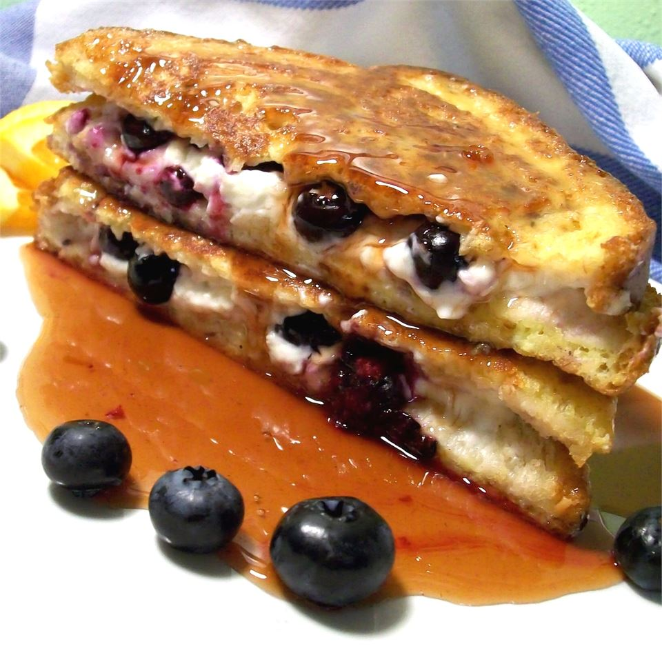 Easy Blueberries And Cream French Toast Sandwich with Orange Maple Syrup Sarah