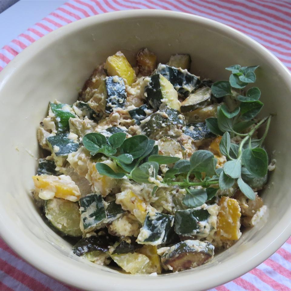 Cream Cheesy Cubed Zucchini with Lemon and Oregano