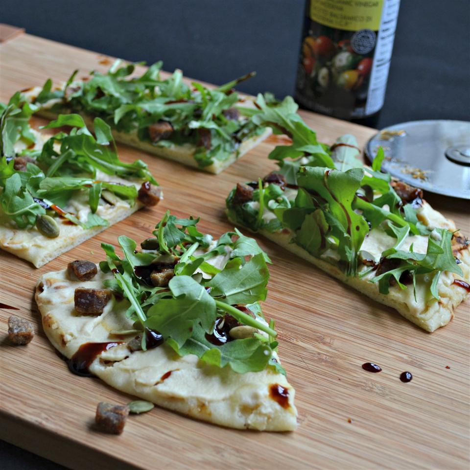 Arugula and Hummus Mini Pizzas