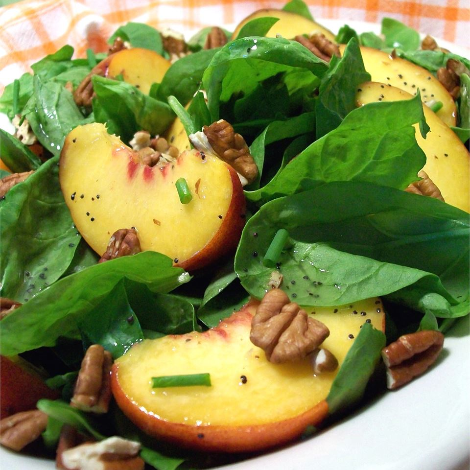 Spinach Salad with Peaches and Pecans Robin Durawa