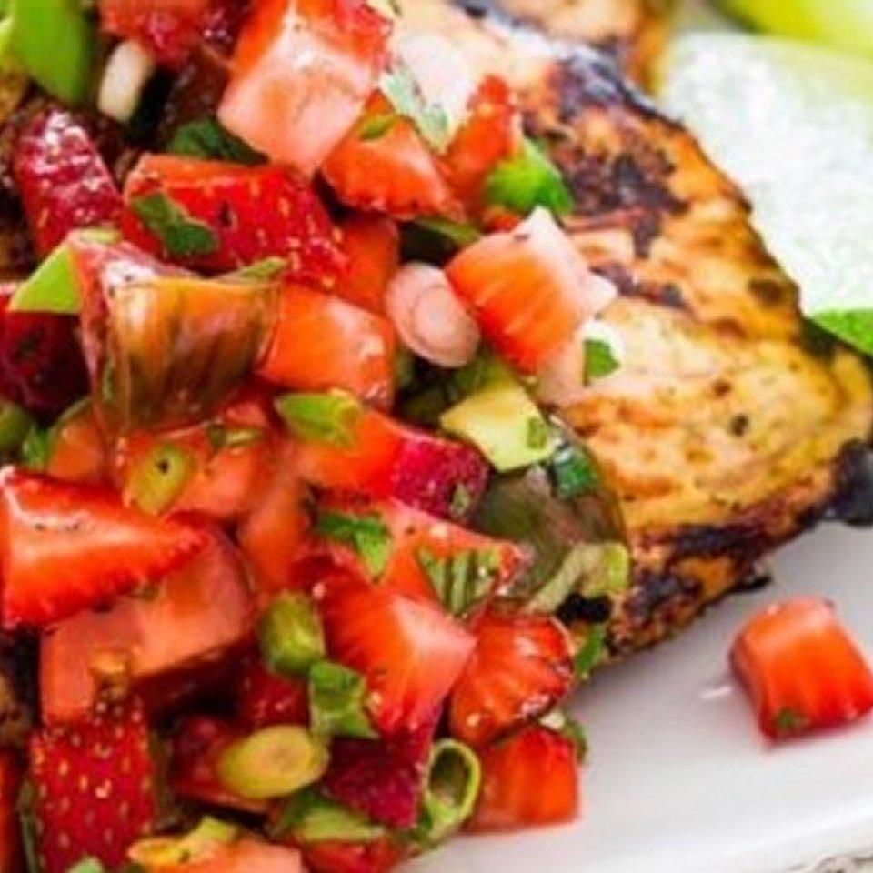 Cilantro-Lime Grilled Chicken with Strawberry Salsa