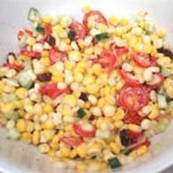Creamy Cherry Tomato Salad with Fresh Basil, Corn and Onion Ashley_Quick_Fix