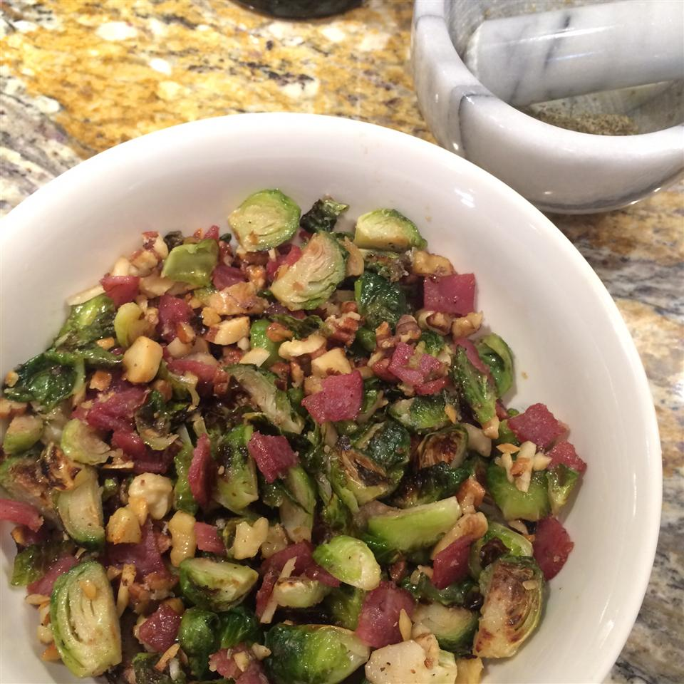 Warm Brussels Sprout Salad with Hazelnuts and Cranberries Fran