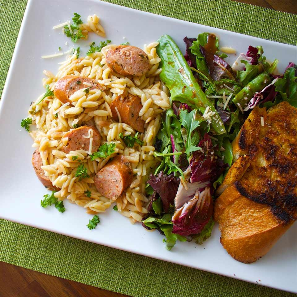 Everyday Orzo with Sausage and Fresh Herbs