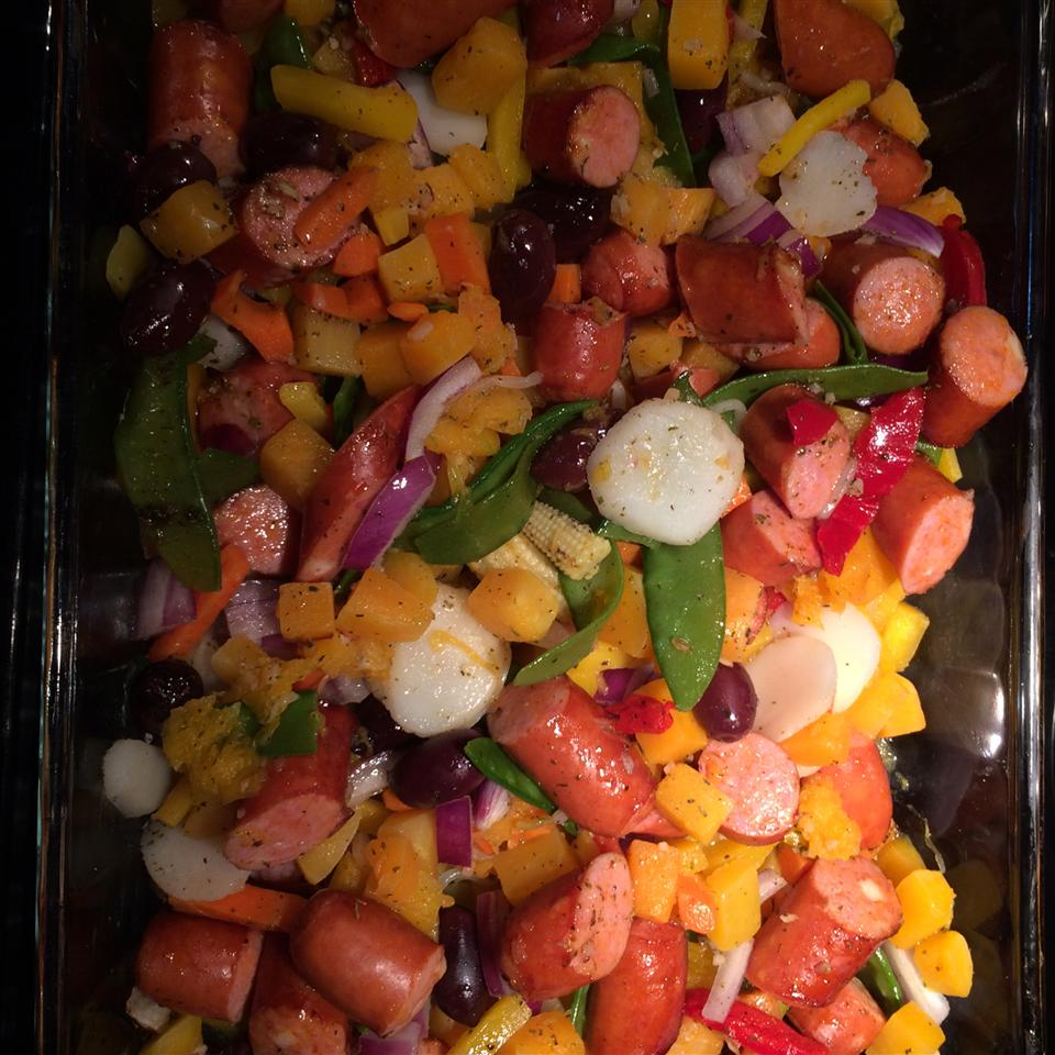 Italian Sausages with Roasted Sweet Potatoes and Sweet Peppers Sheila Johnson