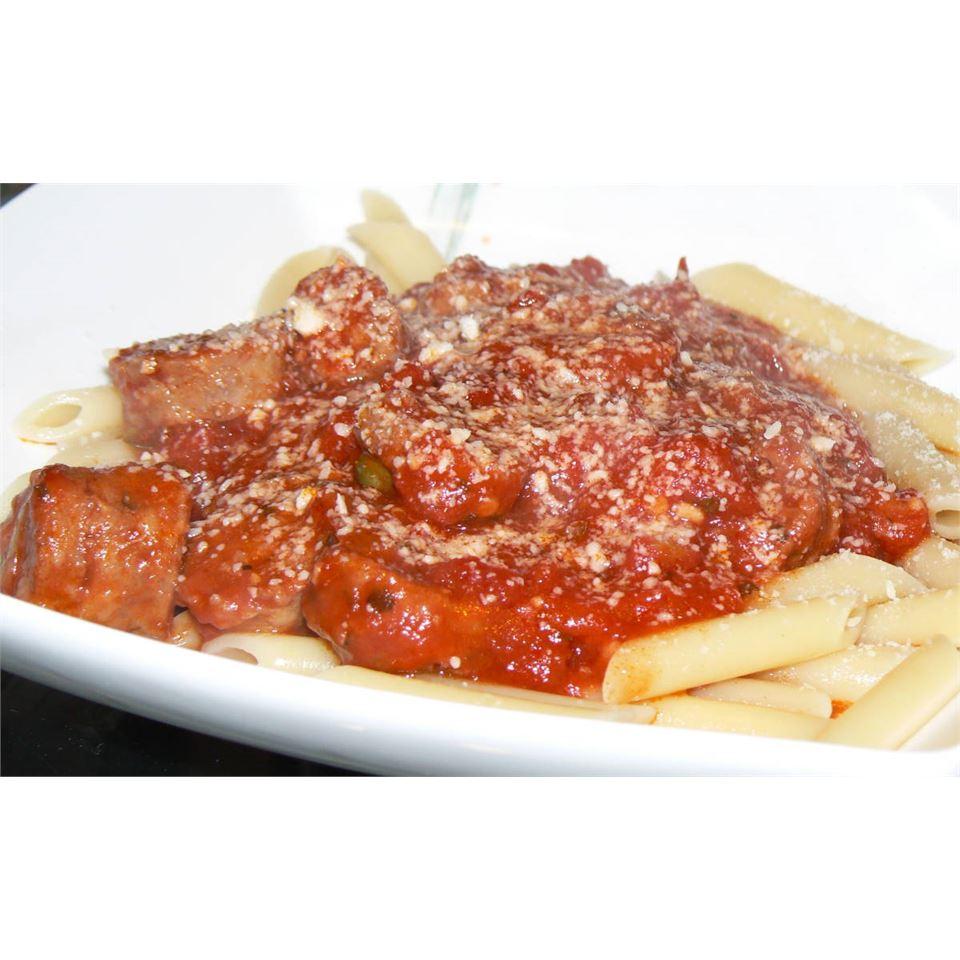 Pasta with Hot Sausage Sauce POLARBEE