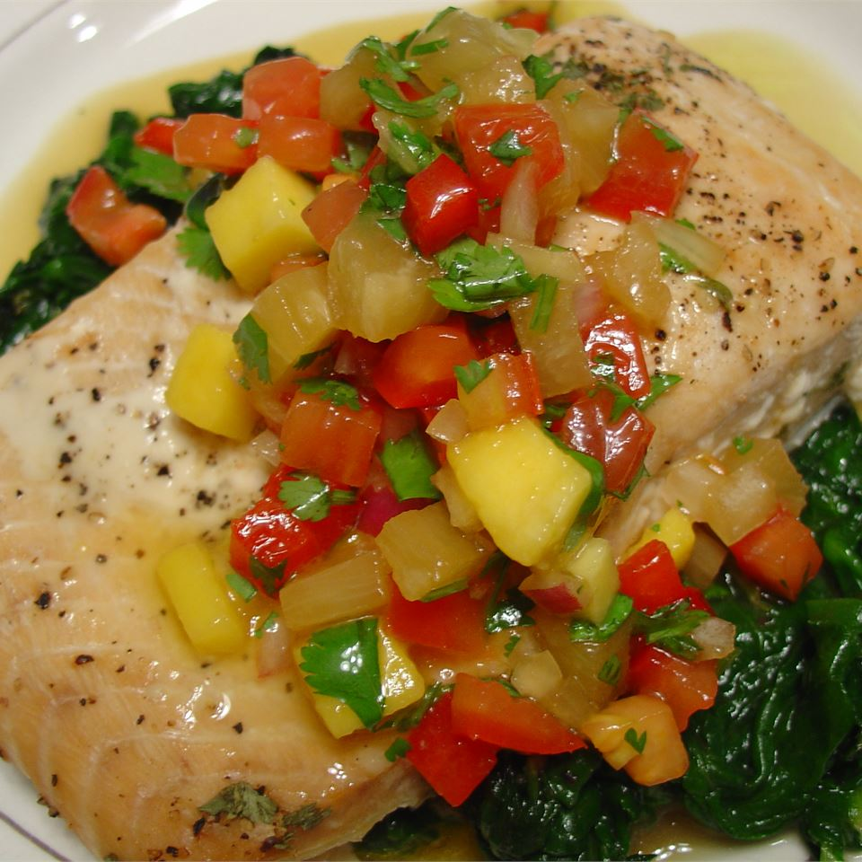 Salmon with Pineapple Tomato Salsa LatinaCook