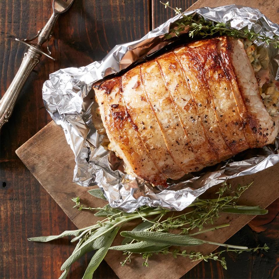 Fennel, Apple and Blue Cheese Stuffed Pork Loin