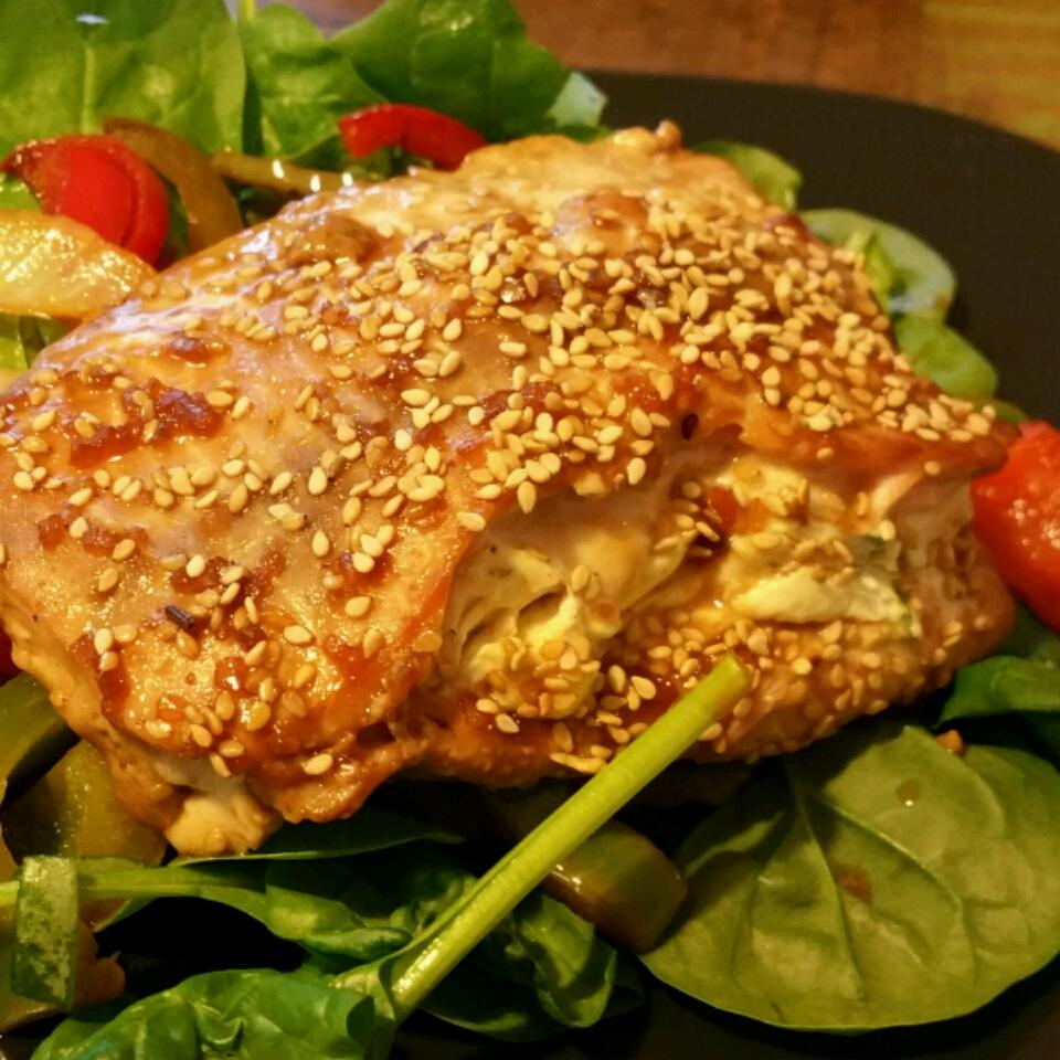 Sara's Soy Marinated and Cream Cheese-Stuffed Salmon