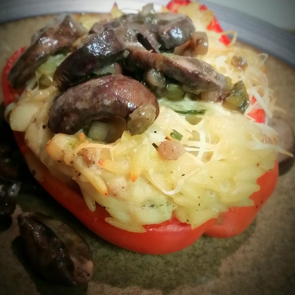 Orzo and Chicken Stuffed Peppers Lori Ibach