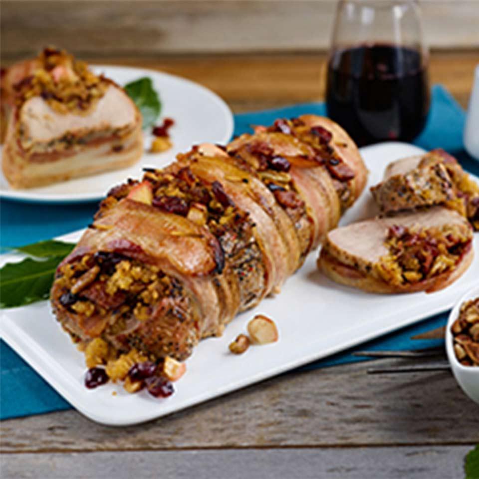Cornbread-Stuffed Bacon-Wrapped Pork Tenderloin