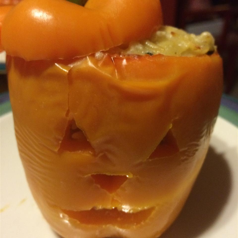 Orzo and Chicken Stuffed Peppers amybryandoyle