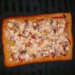Portobello Mushroom, Fresh Peppers and Goat Cheese Pizza Kim Hopps Rodgers