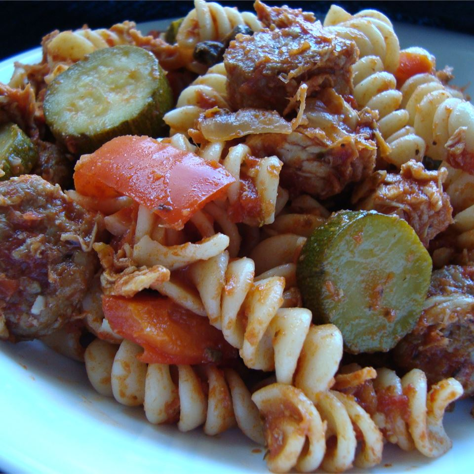 Chicken, Sausage and Zucchini Pasta Mary