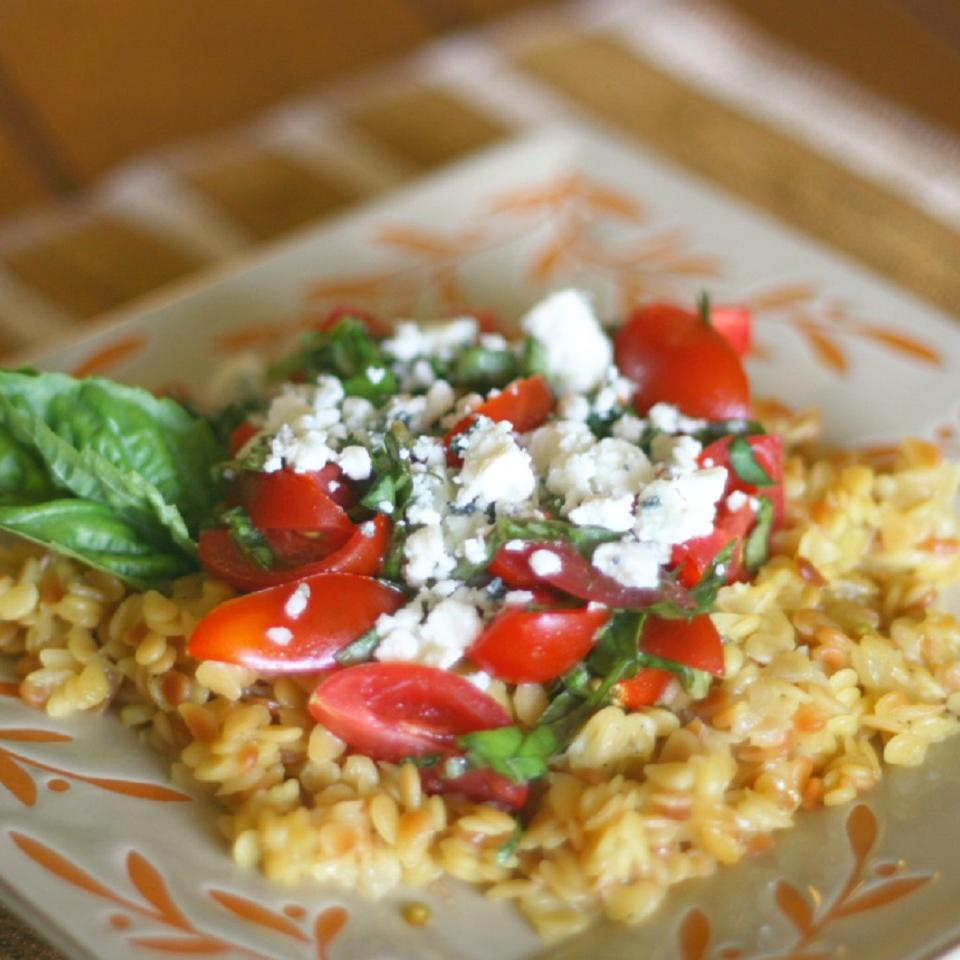 Orzo with Tomatoes, Basil, and Gorgonzola ChicoGirl
