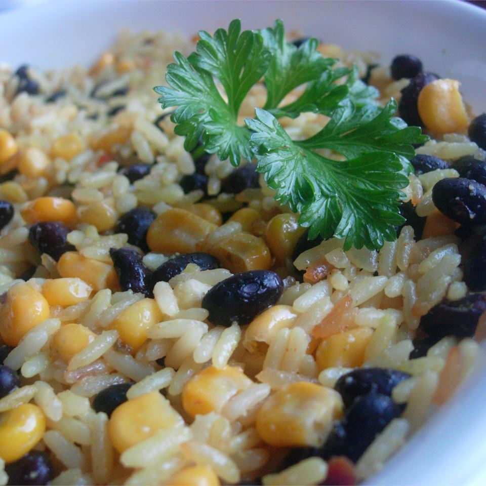 Black Beans, Corn, and Yellow Rice larkspur