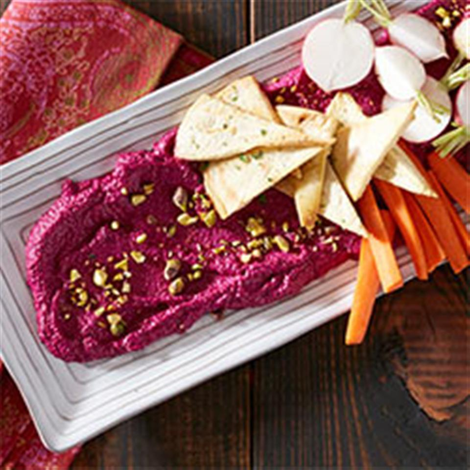 Roasted Beet and Goat Cheese Dip with Pistachios