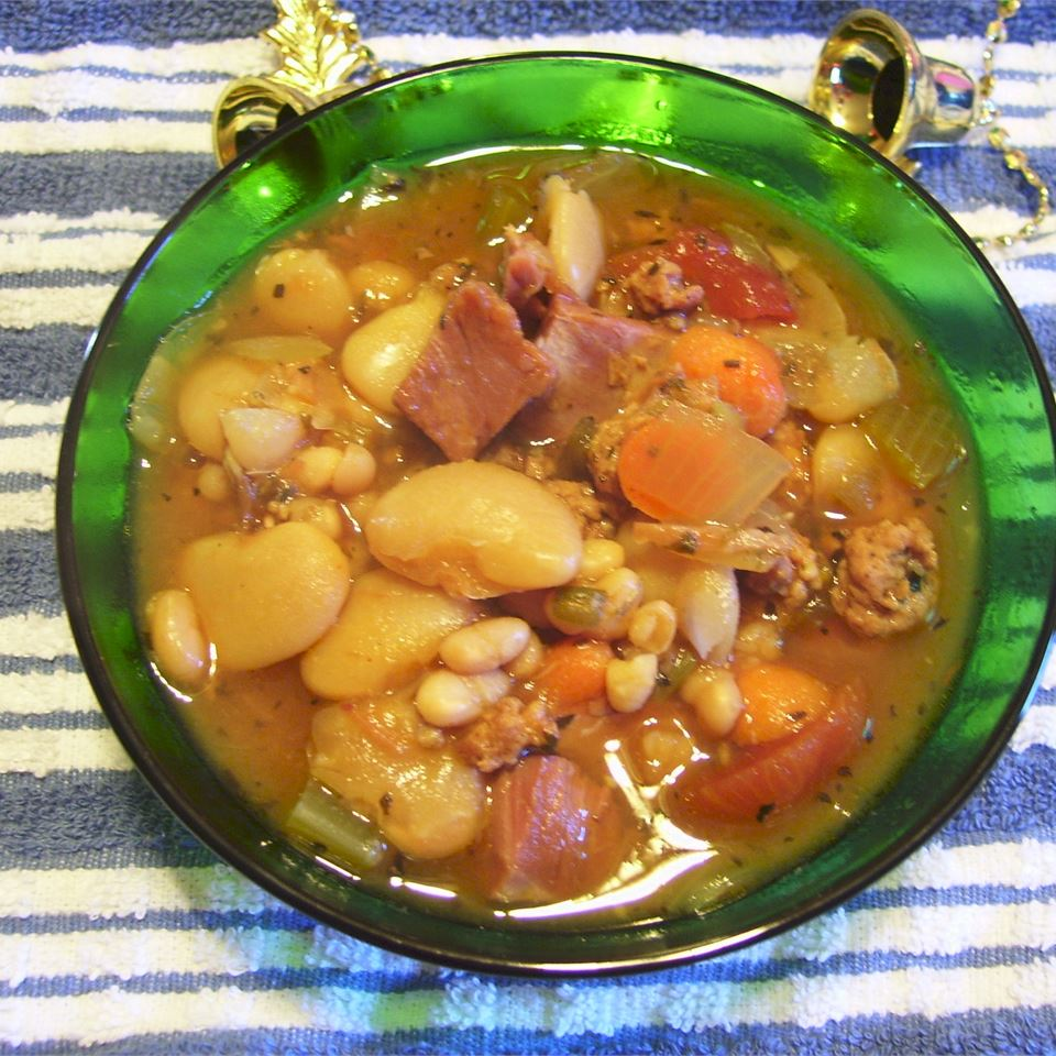 Lima and Navy Bean and Ham Soup