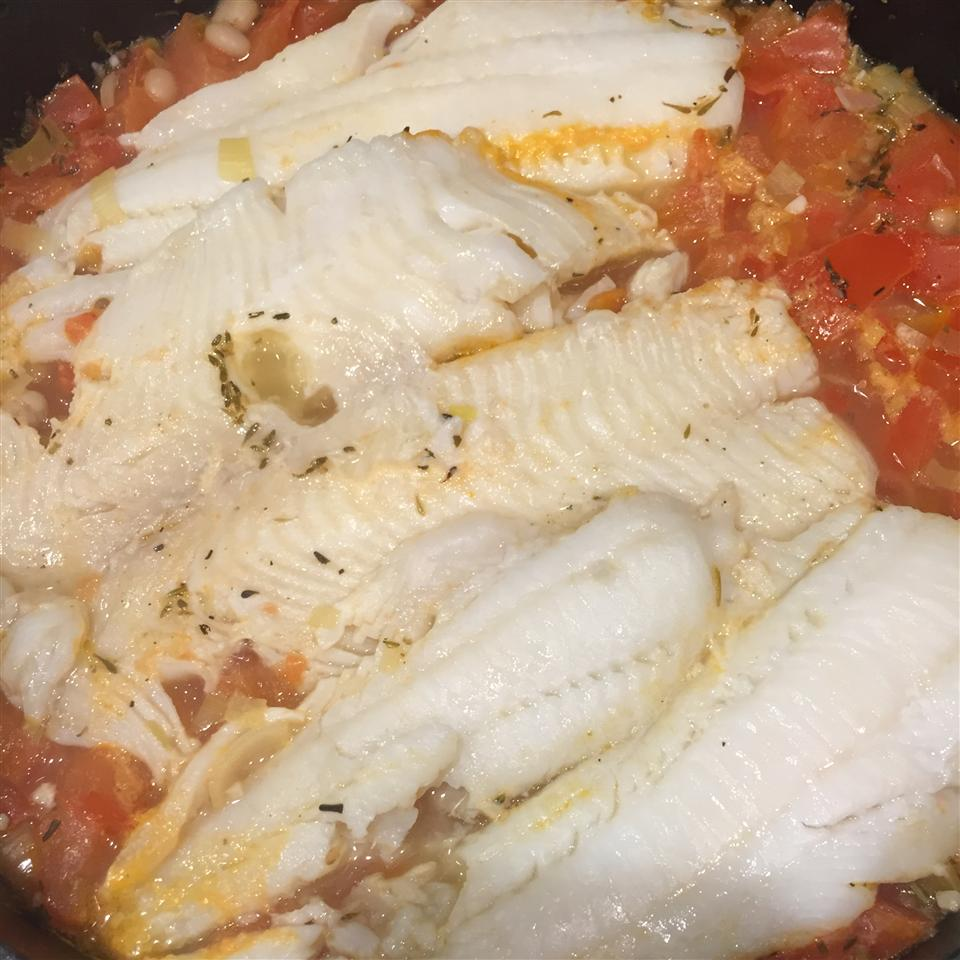 Sole Steamed with Tomato-Leek Sauce Amy