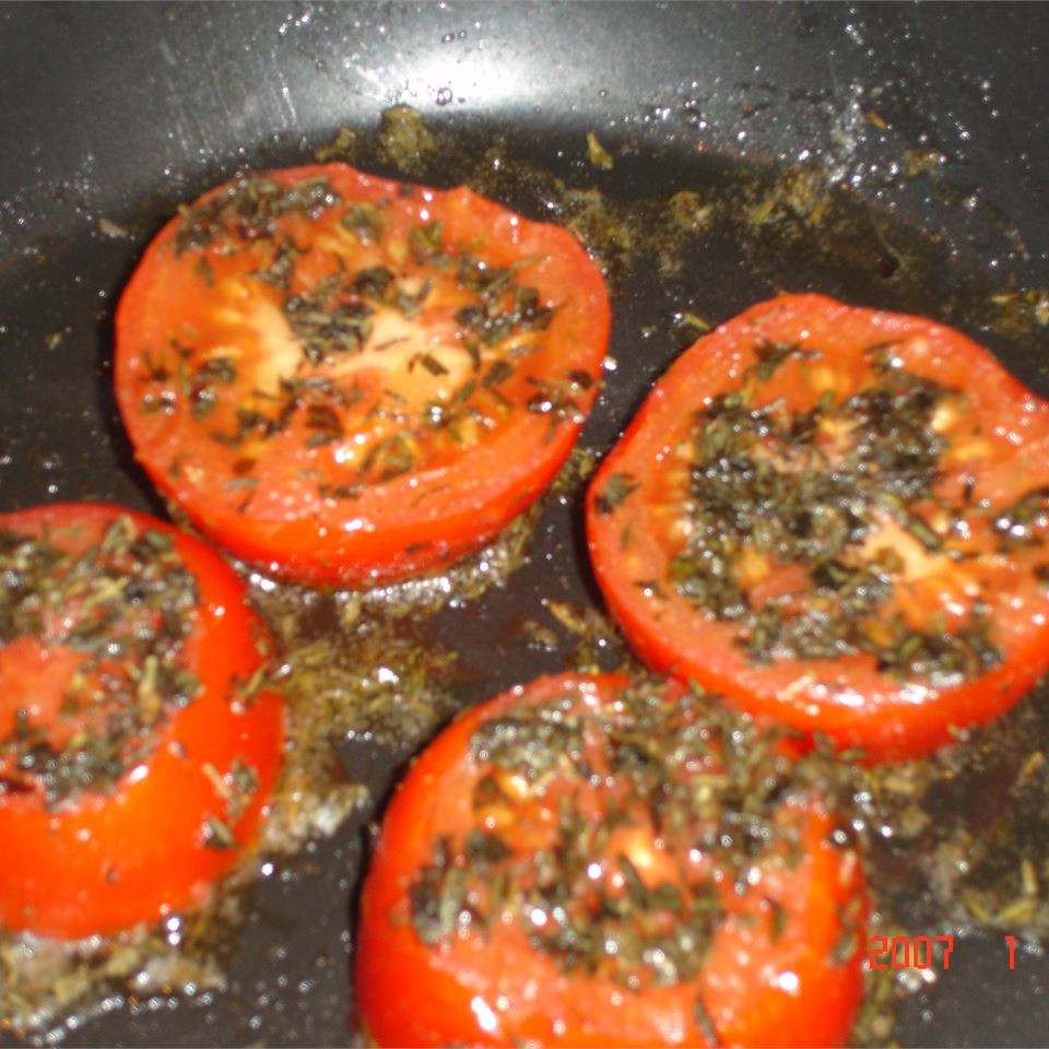 Red, Juicy, Herb-Fried Tomatoes Claire