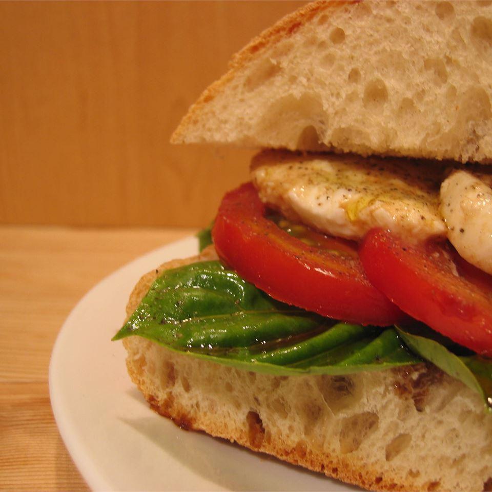 Basil, Tomato and Mozzarella Sandwich Sean Lemecha